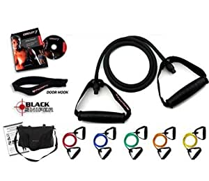 Ripcords Resistance Exercise Bands Black Sniper Edition: Exercise Bands, Door Anchor and Manual