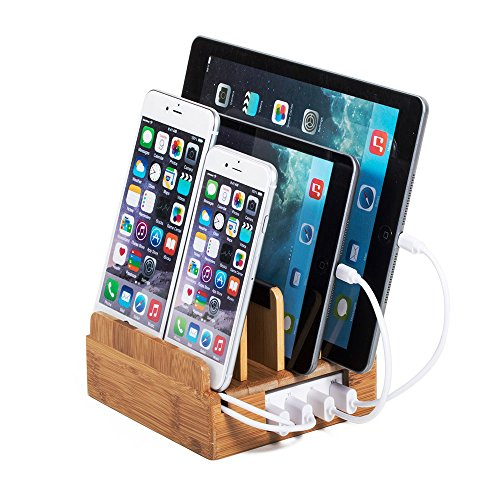 100% Eco Bamboo Compact Charging Station with Included Power Supply and Cable Ties by Great Useful Stuff. Eco-Friendly Bamboo PLUS with Short Cable Set for Apple Devices (Lightning)