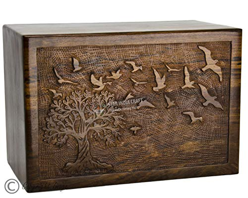STAR INDIA CRAFT Rosewood Urn for Human Ashes Adult,Tree of Life Wooden Urns for Ashes, Cremation Pet Urns for Dogs Ashes, Wooden Box, Funeral Urn Box (Tree Life 74, 340 Cu/in) ()