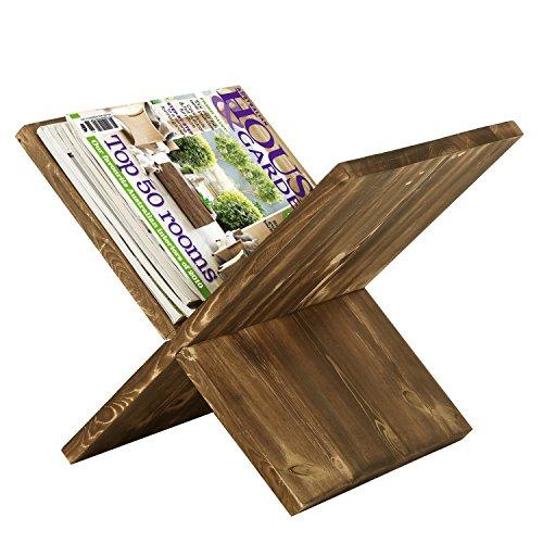 15-Inch Rustic Torched Wood X-Shaped Magazine & Newspaper Storage Rack - Newspaper Magazine