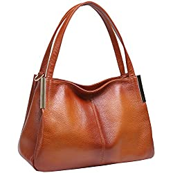 Heshe Women's Leather Designer Handbags Tote Bags Shoulder Bag with Cross Body Strap Satchel for Office Ladies (Sorrel-R)