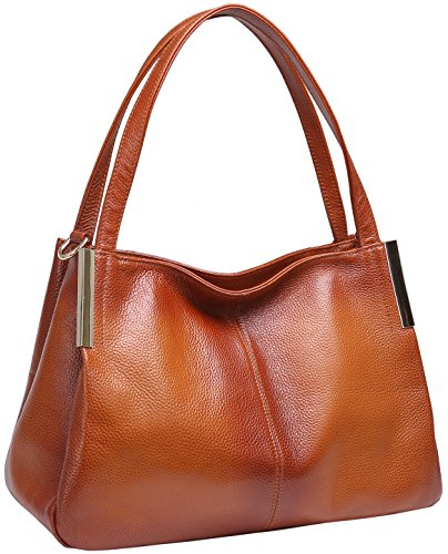 Heshe Women's Leather Handbags Top Handle Totes Bags Shoulder Handbag Satchel Designer Purse Cross Body Bag for Office Lady (Sorrel-R)