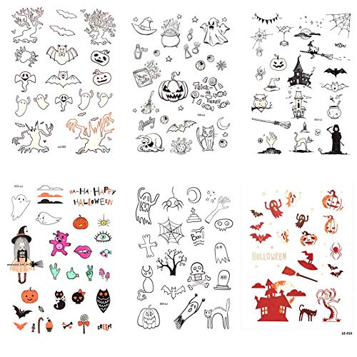 GRASHINE Halloween fake tattoos that look real 6pcs Luminous tattoo stickers in a package, it including spider web, skull head,Pumpkin, devil, elf, angel, witch, bat, cat, etc.