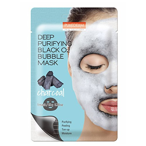 Deep Purifying Black O2 Bubble Mask By Purederm: 10 Charcoal Facial Sheets With Detoxifying And Moisturizing Action - Skin Brightening Wash-off Face Mask That Removes Dead Skin Cells And Toxins