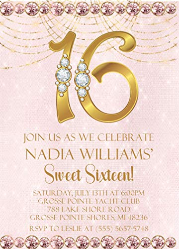 Sweet 16 Invitation (Pink & Gold Sweet 16 Birthday Party Invitations With Envelopes, Pink Sweet 16)