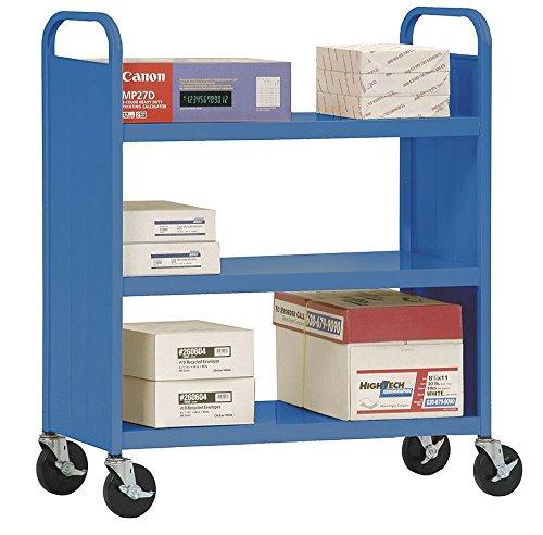 Sandusky Lee - SF33606 - Sandusky Lee SF336 Flat-Shelf Book Truck - 3 Shelf - 37 Width x 18 Depth x 42 Height - Blue by Sandusky