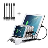 Charging Station, Fast Charging Station Dock 60W 5 Ports Desktop Charging Stand Organizer Detachable Multiple USB Charger for Apple iPhone,iPad, Samsung Galaxy, ps4,iwatch and Others (Cables Included)