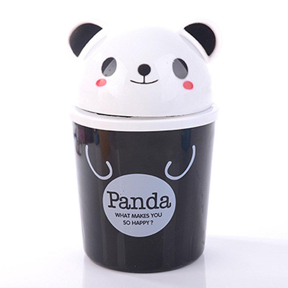 Panda Everyfit Mini Desktops Trash Rubbish CanxFF0C;Waste Bins Plastic Storage Container With Lid Household Office Clean Storage Bucket Recycling Trash Bin Flip Small Size Wastebasket
