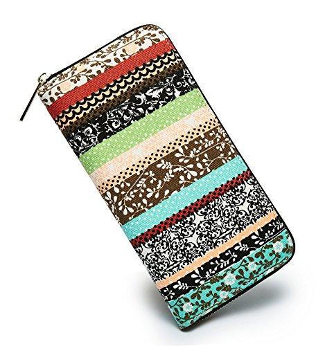 : LOVESHE Women wallet Purse Credit Card Clutch Zip Around Phone Clutch Large Travel Purse Wristlet Bohemian