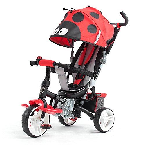 HAIZHEN マウンテンバイク 4色とEVAタイヤ付きの1つの簡単な三輪車の子供のトライクで4 新生児 B07C8C2XPZ 赤 赤