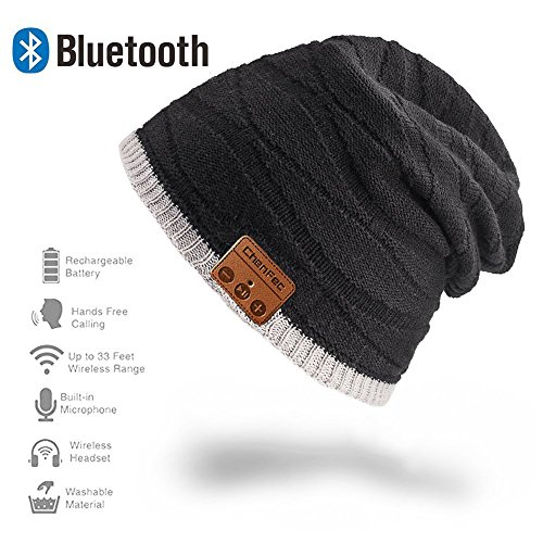 ChenFec Unisex Beanie Bluetooth Musical Hat with Speaker Mic Winter Sport Cap Warm & Comfortable for Gifts-Black