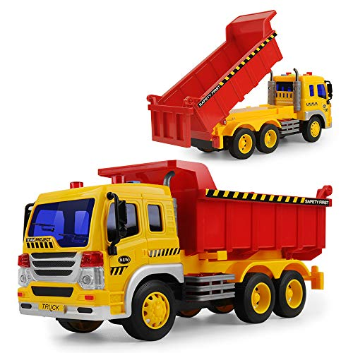 (Gizmovine Friction Powered Big Dump Truck Vehicle Toy with Lights and Sounds, Push and Go Construction Car Toy for Kids Boy Girls, 1:16 Scale)