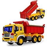Gizmovine Toy Truck Friction Powered Big Dump Truck Vehicle Toy with Lights and Sounds, Construction Car Toy for for Boys Age 5, 4, 3, 2 , 1:16 Scale