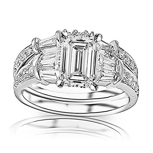 Baguette Round Band Diamond Brilliant (1.65 Ctw 14K White Gold Baguette Round GIA Certified Diamond Engagement Ring Wedding Bridal Band Set Emerald Shape (0.9 Ct K Color VS1 Clarity Center Stone))