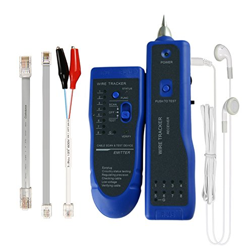 Multi-function Network Cable Tester RJ45 RJ11 Wire Ethernet Tracer Remote Toner Tool Kit with Bag Probe Audio Tone for LAN CAT5 CAT6 Tracker Underground Telephone Line Finder Speed Check Home Repair