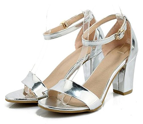 Easemax Sandals Metallic OL Strap Heel Block Stylish Ankle Womens Buckle Silver Work High Shoes qUZWUT