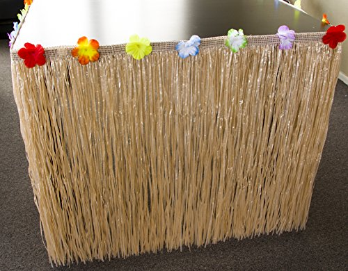 Knot Board Sports Table Skirt Luau Hawaiian Party, Grass Hibiscus Decoration Flowers Colorful Green Tropical. 9', Raffia