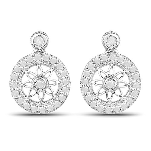 0.64 Carats Genuine White Diamond (I-J, I2-I3) Star Weave Earrings Solid .925 Sterling Silver With Rhodium Plating