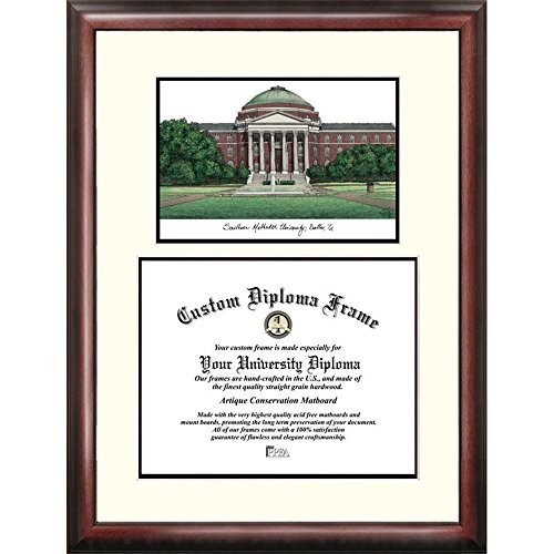 SMU Mustangs Framed Scholar Diploma Frame with Lithograph by Landmark Publishing