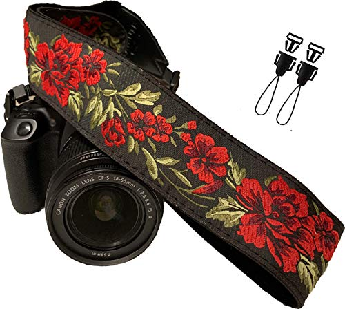 Rose Flowers Camera Strap Belt for All DSLR Camera. Cotton Elegant Universal DSLR Strap, Neck Shoulder Camera Strap for Canon, Nikon,Pentax, Sony,Fujifilm and Digital Camera