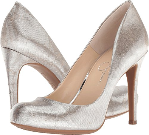 Jessica Simpson Women's Calie Round Toe Classic Heels Pumps Shoes Silver Size ()