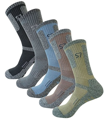 SEOULSTORY7 5Pack Men's Climbing DryCool Cushion Hiking/Performance Crew Socks 5Pair Large