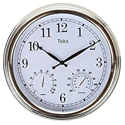 Lilyshome 3-In-1 Indoor or Outdoor Wall Clock with Thermometer and Hygrometer 15 Inch, Chrome