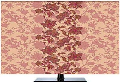 TVカバー tvケース レビカバー 防塵カバー 55インチのテレビに適用 液晶カバー アイマック テレビ 花柄 鮮やかな色の自由ho放に生きる花モロッコ文化の花ビンテージパターン印刷 桃とサンゴ