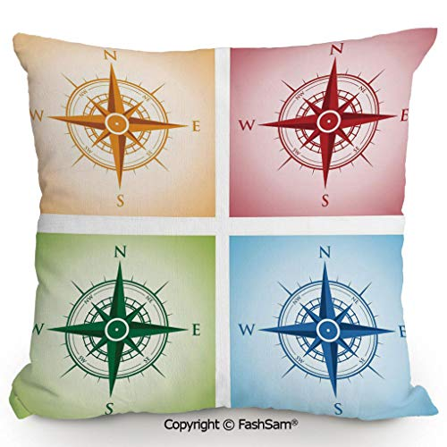 (FashSam Decorative Throw Pillow Cover Colorful Compasses Windrose Finding Directions Discovery Directions Pathfinding Decorative for Pillow Cover for Living Room(20