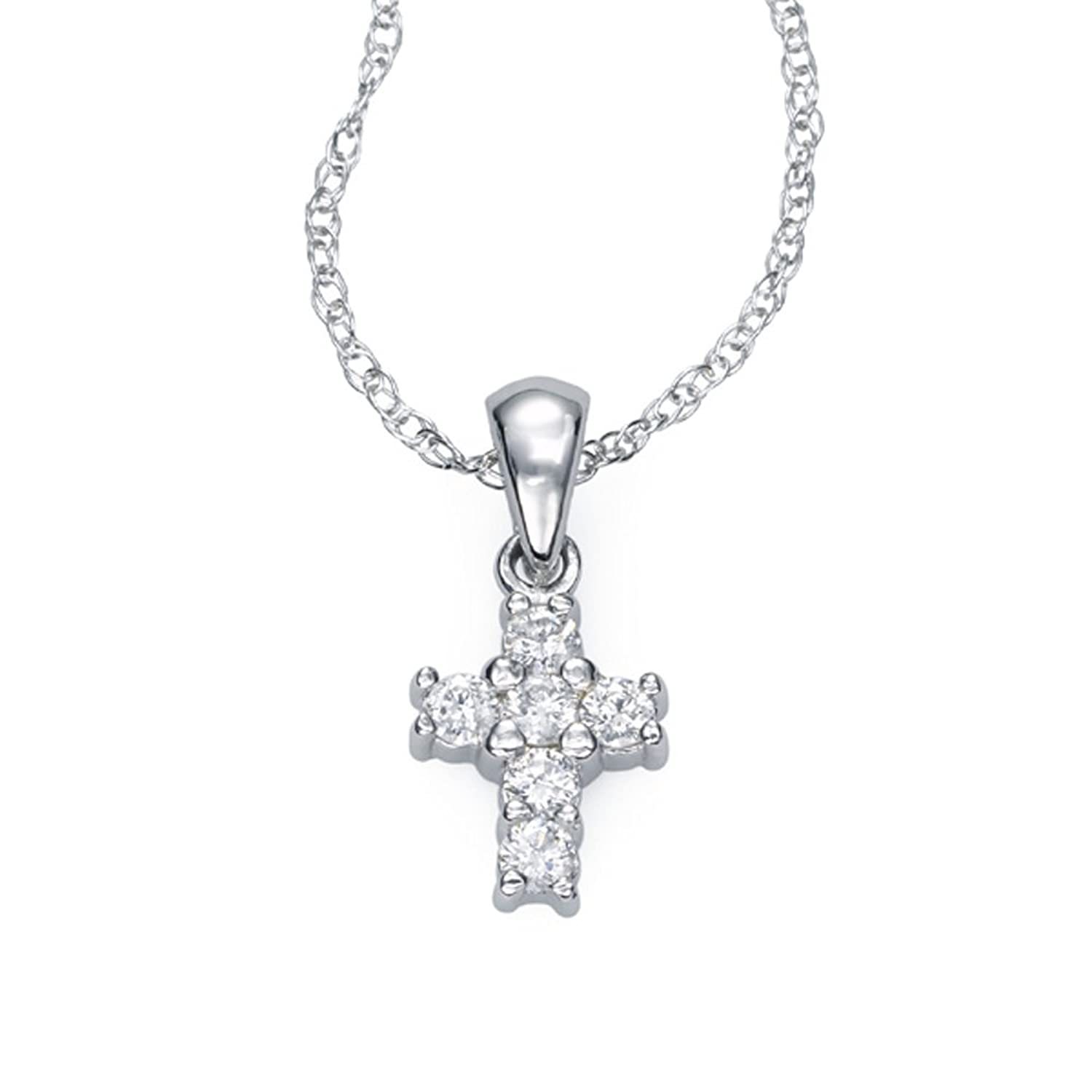 "Amazon Ze 14k White Gold Diamond ""Baby"" Cross Necklace 18"