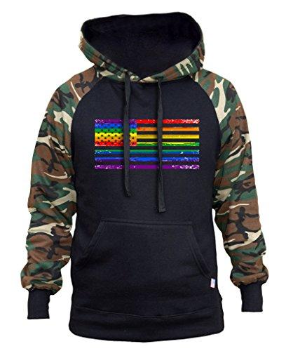 (Interstate Apparel Men's Rainbow Gay Flag Black/Camo Raglan Baseball Hoodie 3X-Large)
