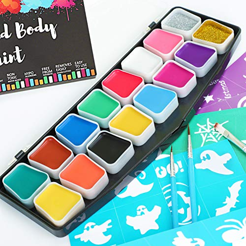 Face Paints & Body Paints Kits Kids Hypoallergenic Make up Palette-16 Colors with 36 Stencils, Three Brush Glitter-Safe & Non-Toxic, Ideal for Halloween Party Face Painting - Easy to Wear and Remove