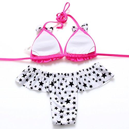 PU&PU Bikini a righe da spiaggia delle donne due pezzi Set Reggiseno imbottito senza fodera in pizzo di nuotata dell'arco del costume da bagno , fuchsia , s