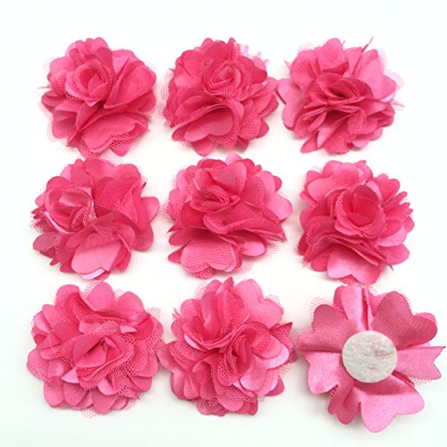 Scrapbooking Fabric Embellishments (PEPPERLONELY 10PC Set Hot Pink Lace Chiffon Peony Fabric Flowers, 2 Inch)