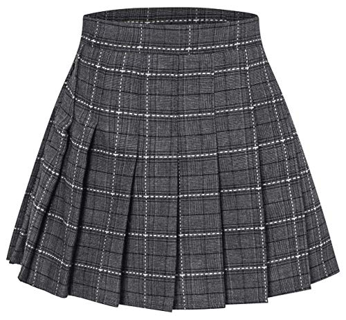 Girls' Plaid Pleated School Uniform Skort Skirt for Kids Toddlers, Little and Big Girls Grey, Tag 140 = 8-9 -