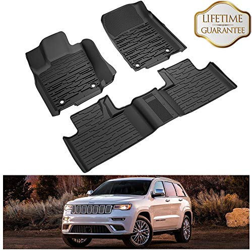 (KIWI MASTER Floor Mats Compatible for 2016-2019 Jeep Grand Cherokee Accessories Front & Rear Row Floor Liners All Weather Protection Slush Mat Black)