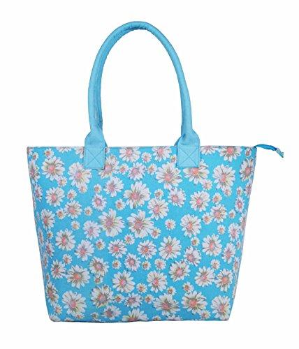 Ladies Women Large Canvas Shopper Tote Beach Bag Fully Lined Lightweight Shoulder Holiday Bag (Denim Black) Daisy Flower Blue