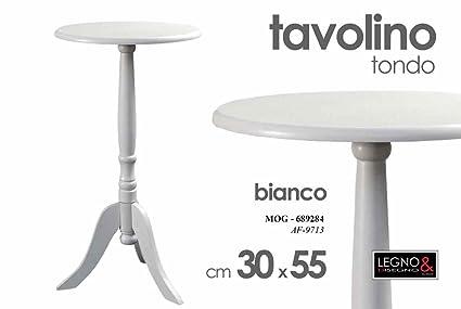 Tavolo Complementi D Arredo.Tavolo Tavolino Tondo Bianco Legno Complementi D Arredo Casa Amazon