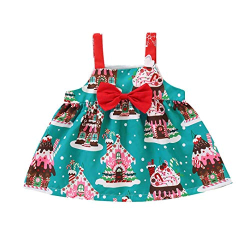 Toddler Baby Girls Cartoon Christmas Print Sleeveless Bowknot Dress (4T, Blue)