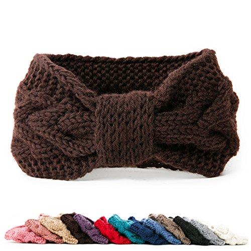 NISHAER Women's Chunky Knit Wide Headband Turban Styled Headwrap