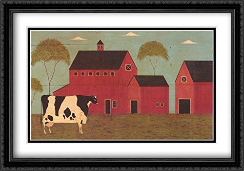 Nellie's Barn 2X Matted 32x22 Large Black Ornate Framed Art Print by Warren Kimble