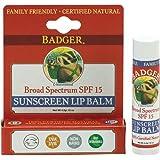Badger Balm Broad Spectrum Sunscreen Lip Balm Stick Spf 15 .15 Oz