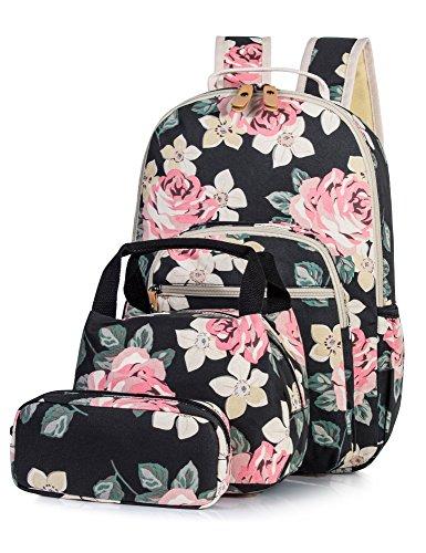 Backpack for Girls, Floral School Laptop Knapsack Lunch Bag Pencil Case 3PCS Set