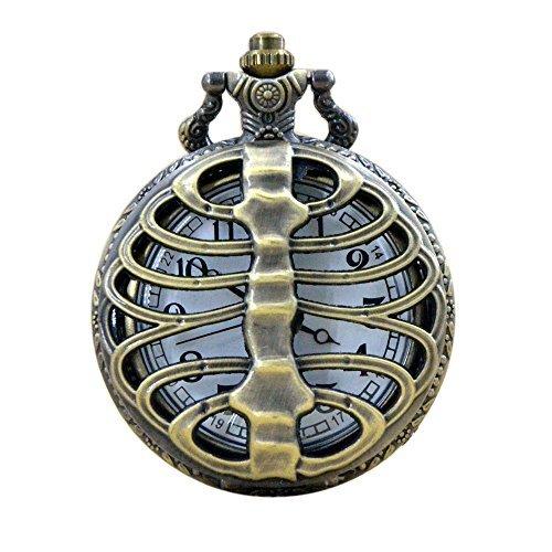 Bronce Hueco de Huesos Humanos Cool Cuarzo Reloj de Bolsillo Collar de Cadena para Hombre Boys P029: Amazon.es: Relojes