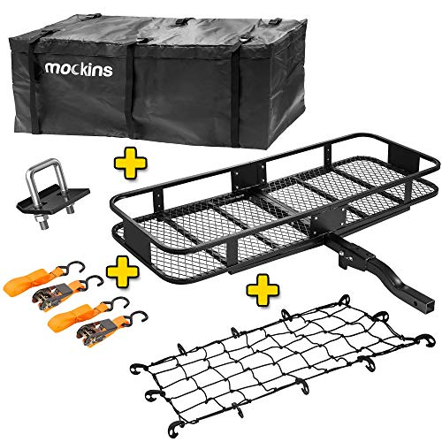 Mockins Hitch Mount Cargo Carrier with Cargo Bag and Net |The Steel Cargo Basket is 60 Long X 20 Wide X 6 Tall with A Hauling Weight of 500 Lbs & A Folding Shank to Preserve Space When Not in Use ... ...