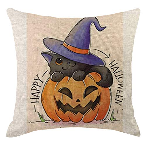 Jocome Throw Pillow Case,Halloween Pumpkin Pillow Cover Pillowcases Decorative Sofa Cushion Cover Scary Pirate Deadpool Toddler Last Minute Skull Trooper Group Poison -
