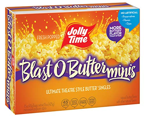 JOLLY TIME Blast O Butter Mini Bags   Movie Theater Style Extra Buttered Microwave Popcorn - Single Serve Individual Snack Size Portions (10Count Box, Pack of 3) -