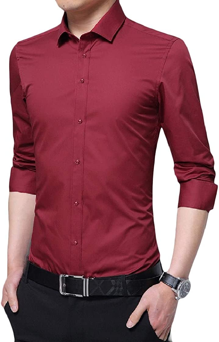 YUNY Mens Solid Business Plus Size Curvy Long Sleeve Lapel Button Top Shirt Red L