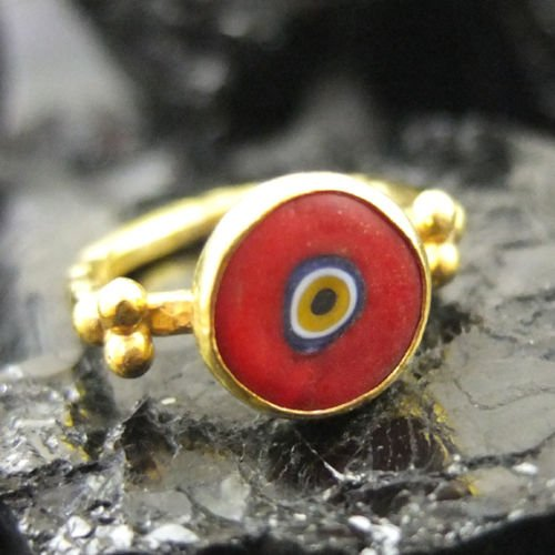 (Ancient Design Hammered Handmade Ancient Style Red Evil Eye Ring 22K Gold over Sterling Silver)