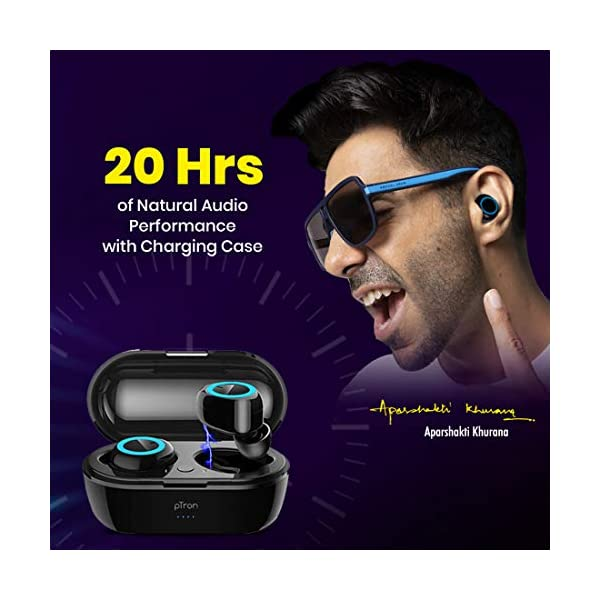 51sjZ7F6HSL pTron Bassbuds in-Ear True Wireless Bluetooth 5.0 Headphones with Hi-Fi Deep Bass, 20Hrs Playtime with Case, Ergonomic Sweatproof Earbuds, Noise Isolation, Voice Assistance & Built-in Mic - (Black)